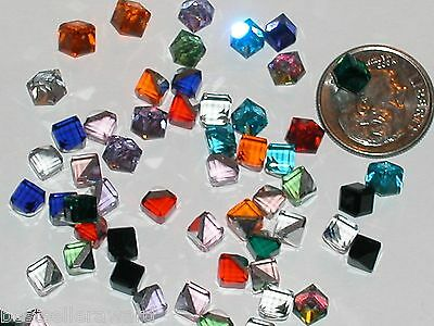 8 pc. Tiny Crystal Cube rainbow Mix jewelry Supplies No holes 3/4 flat back 4mm
