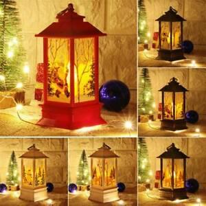 Natale-Babbo-Natale-Pupazzo-di-neve-Castle-Lampada-Luce-Fata-da-Appendere-Lanterna-Ornamento-J