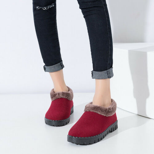 Women/'s Winter Warm Snow Shoes Fur Lined Indoor Anti Skid Flat Outdoor Slippers