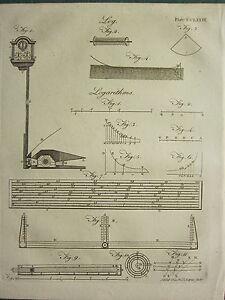 1797 GEORGIAN PRINT ~ LOG ~ VARIOUS DIAGRAMS EQUIPMENT RULER LOGARITHMS