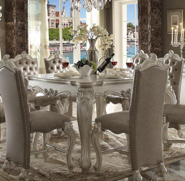 Acme Furniture White Versailles Dining Room Set Classic 5pcs