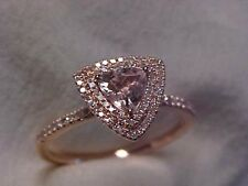 *ESTATE*TRILLION CUT PINK MORGANITE & DIAMOND HALO RING 10K ROSE GOLD sz6.75