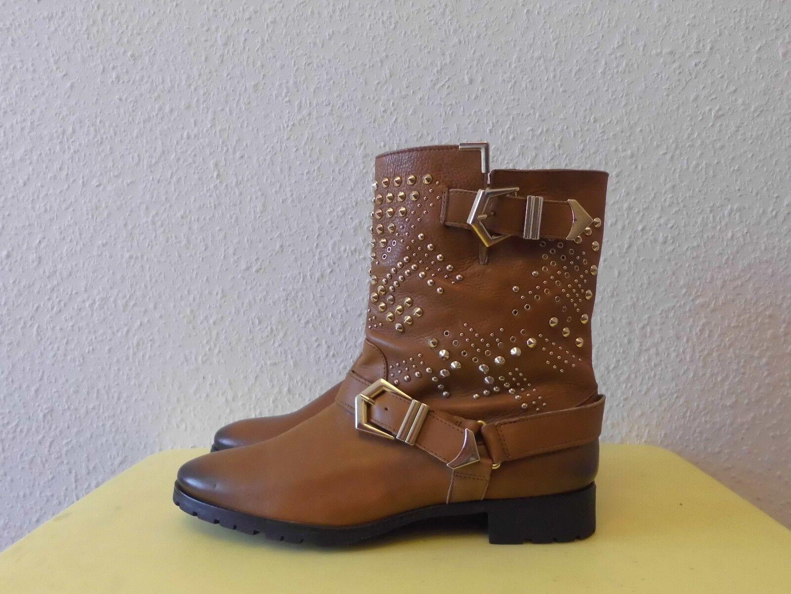 8248ef5ce910 Stiefeletten Schlupfstiefeletten Boots Zara Leder Woman Gr.40 Leder TOP mit  Nieten 764387