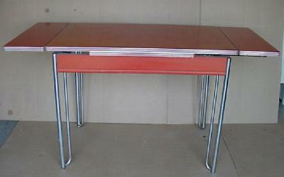 Vintage Formica And Chrome Kitchen Table Farmhouse Country Kitchen W 2 Leaves Ebay