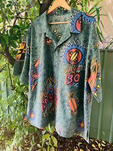 Men-039-s-LIGHTNING-BOLT-retro-80s-handmade-button-down-short-sleeve-shirt-size-XXL