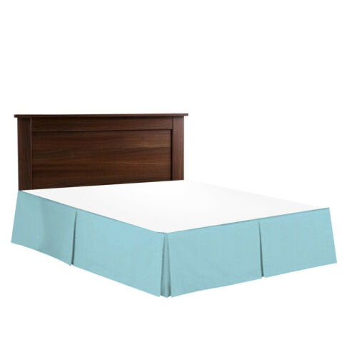 "Aqua 14"" Drop Dust Ruffle Hotel Luxury Pleated Tailored Bed Skirt Cal King"