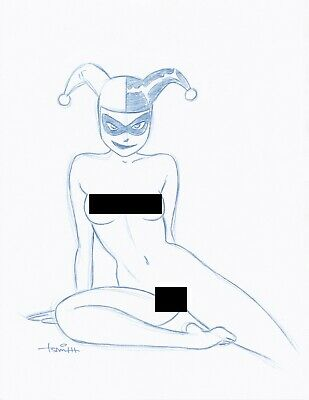 Harley Quinn Convention Blue Line NUDE Sketch by Batman Animator Art Drawing