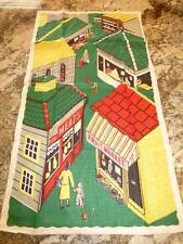 Vintage Linen Kitchen TOWEL Tea Dish Unused FRUIT MARKET TOWN BAKERY MEATS