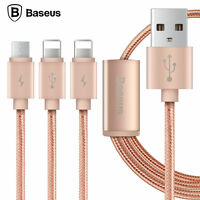 BASEUS 3in1 Dual 8Pin Lightning+Micro USB Charging Sync Data Cable for iPhone