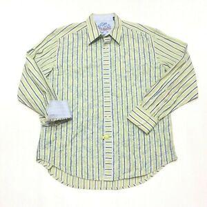 Robert-Graham-Green-Blue-Striped-Flip-Cuff-Button-Up-Shirt-Mens-Size-XL