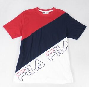 Fila-Mens-T-Shirt-Blue-Size-Large-L-Crewneck-Colorblock-Logo-Front-Tee-35-394