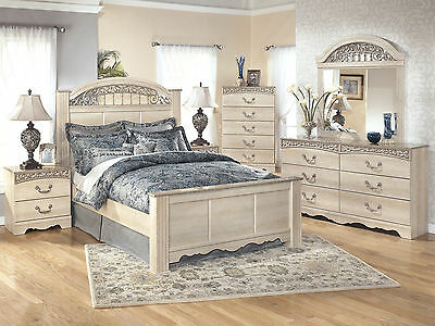 NEW Traditional Cottage White Bedroom Furniture - 5pcs Queen Panel Bed Set  IA15 | eBay