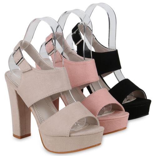 Damen Plateau Sandaletten Sommer High Heels Wildleder-Optik 822830 Schuhe
