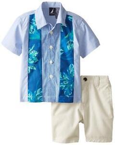 c9c8c0880 Nautica Infant Boys 2pc Woven Shirt   Twill Short Set Size 12M 24M ...