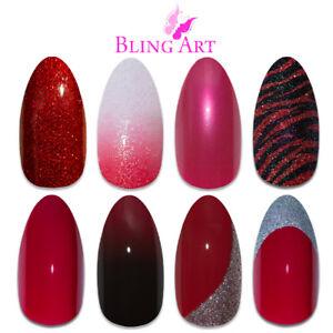 Bling-Art-Almond-False-Nails-Red-Glitter-Gel-Matte-Fake-Medium-Acrylic-Tips-Glue