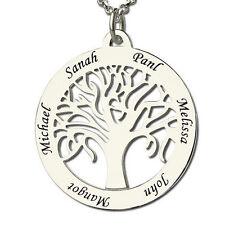 Gravur Familie Baum Silber BIS ZU 6 NAMEN Kette Anhänger NAMENSKETTE Lebensbaum