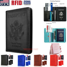 Slim Leather Travel Passport Wallet Holder RFID Blocking ID Card Case Cover US