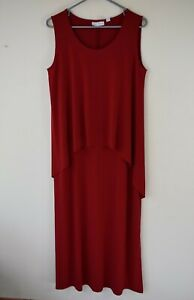Susan-Graver-Size-Small-Red-Poly-Spandex-Sleeveless-Tiered-Front-Knit-Maxi-Dress