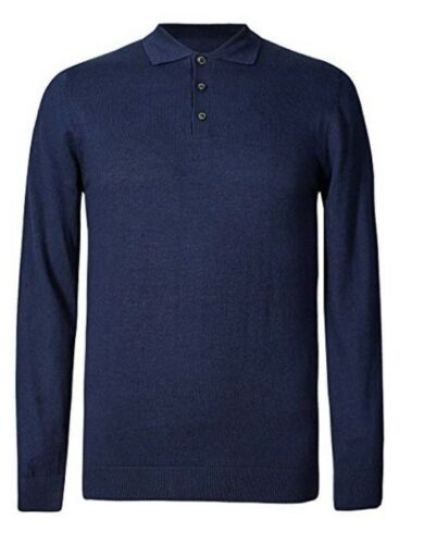 Mens M/&S Jumper Knitted Polo Shirt Long Sleeve Cotton Blend Knit Collared Jumper