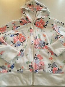 6f1fd2dcb Girls OLD NAVY White FLORAL zip up hoodie hooded sweatshirt size M ...