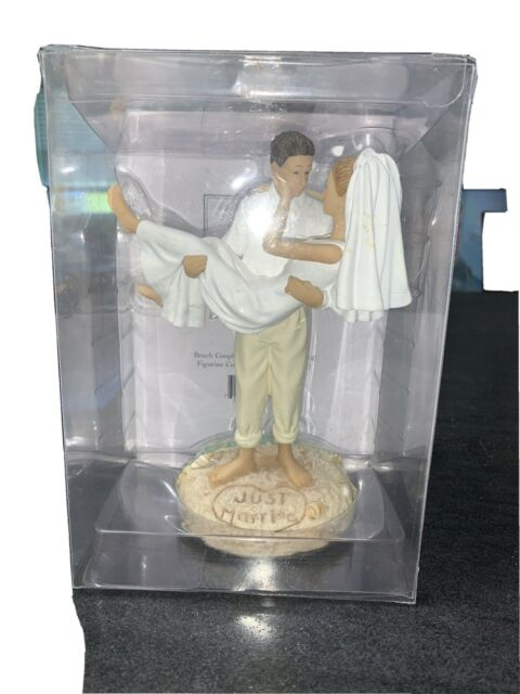 Lillian Rose - Just Married Beach Wedding Cake Topper Figurine - Caucasion