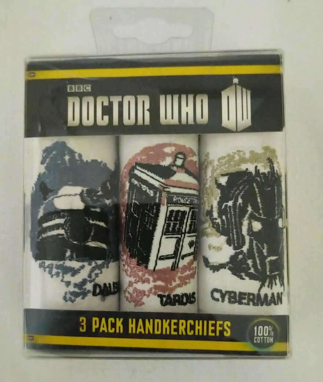 Doctor Who 3 Pack Handkerchiefs 100% Cotton