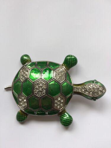 Buckle Gürtelschnalle Motiv Schildkröte vielen Strasssteine Farben  grün Frauen