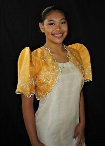 c19568b8600 Image is loading FILIPINIANA-BOLERO-Barong-Tagalog-Philippine-National- Costume-GOLD