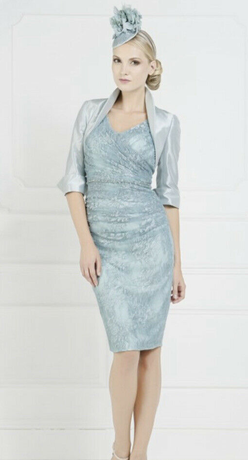 Stunning John Charles 25732 Ocean Blue Lace Beaded Dress & Bolero Size 16 New