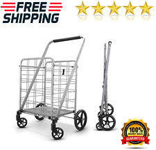 Grocery Utility Shopping Cart 360 Rolling Folding Portable Heavy Duty Light Wei