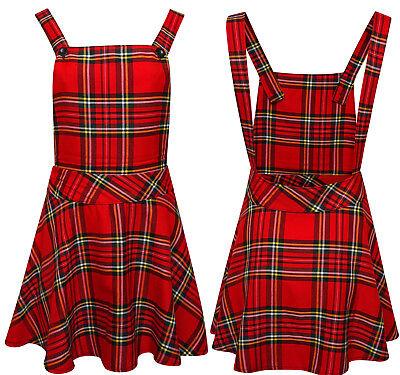 Ladies Womens Tartan Check Pinafore Dungarees Buttoned Mini Skirt Dress 8-14