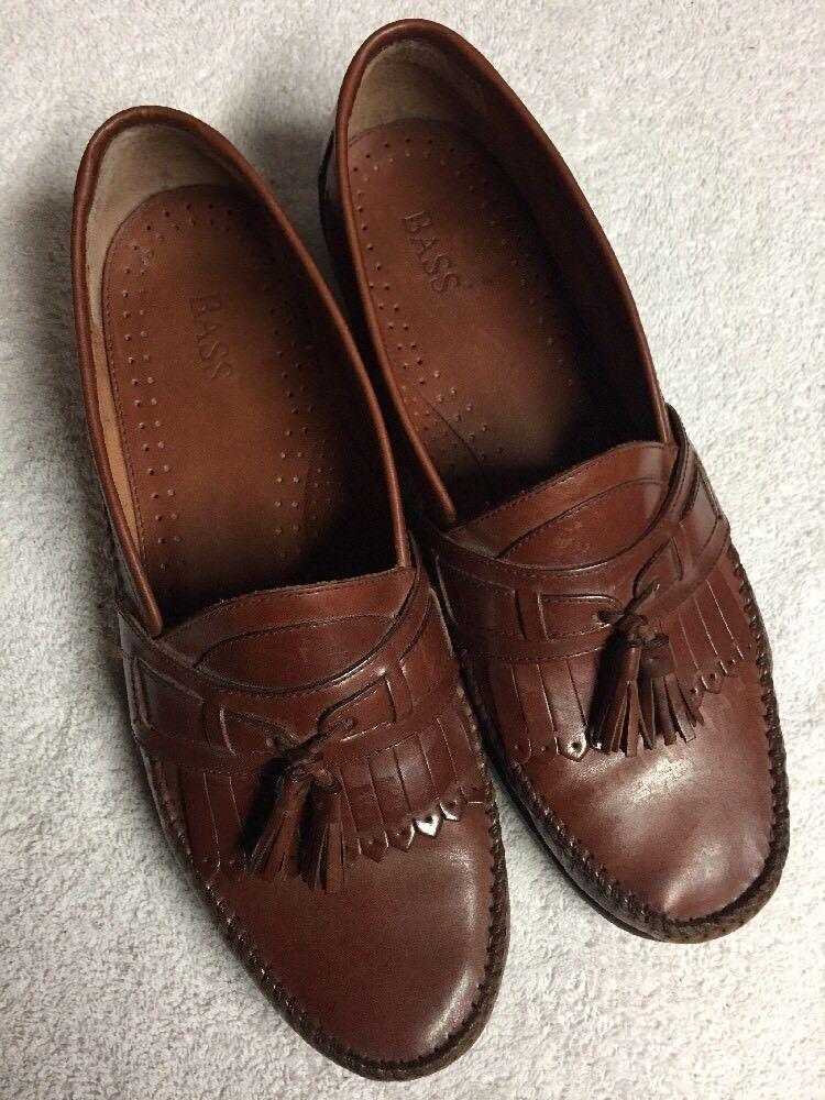 Bass Men's Brown Leather Slip On Kilt Tassel Dress shoes Size Sz 12 Medium Med M