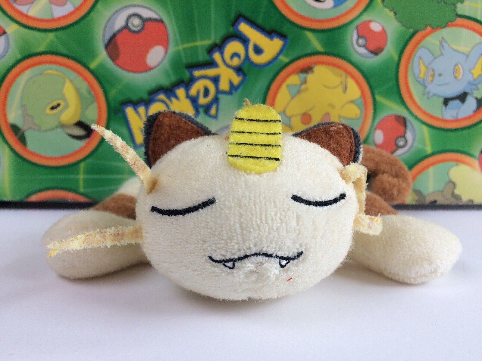 Pokemon Center Plush Laying Meowth KutaKuta cloth bean 2001 Stuffed figure doll