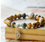 Ceramic-Bead-Silver-Leaf-Charm-Elastic-Bracelet thumbnail 6