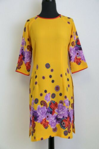 3XL Purple Florals Size S Red Collar Yellow Vietnamese Ao Dai Cach Tan