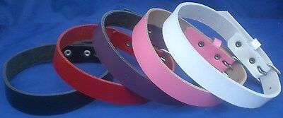 Leather Plain Choker Necklace Choice of Colours Hand Made Real Leather Goth Punk