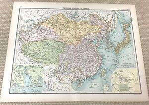 1891 Antik Map Of China Japan Die Chinesisch Reich Peking Alt 19th Jahrhundert