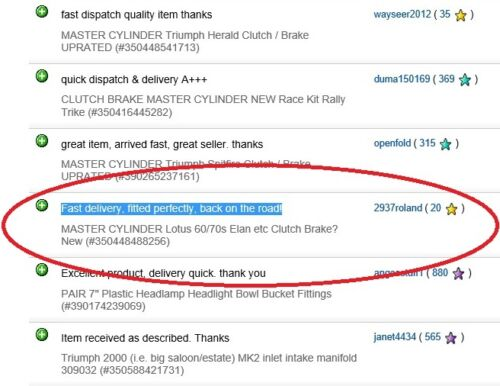 Maître cylindre LOTUS 60 70 ELAN etc embrayage frein nouveau?