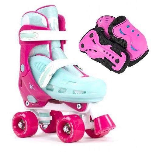 SFR Hurricane II Adjustable Quad Roller Skates Girls - Optional Safety Pad Set