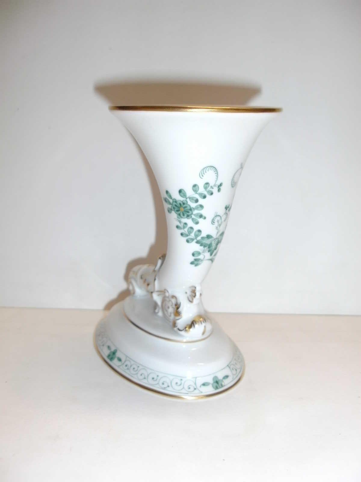 Meissen Indische Malerei grün leicht Vase 340310 50110