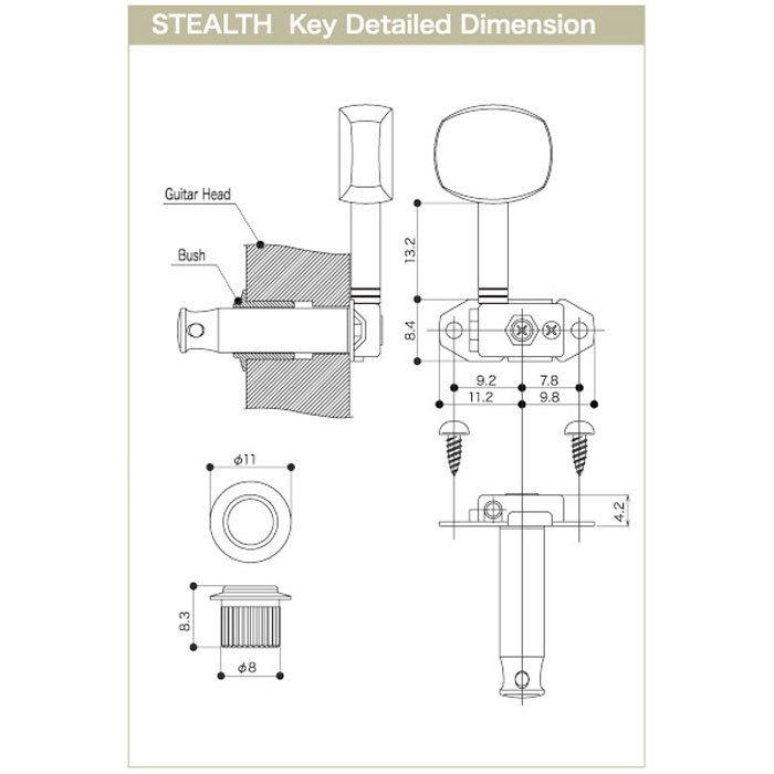 NEW NEW NEW Gotoh Stealth ST31-SB5 6-In-Line Lightweight Tuning Keys Set - CHROME 5243fe