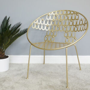 Gold-Leaf-Lounger-Chair-Metal-Statement-Tub-Stool-Occasional-Single-Seat-Feature