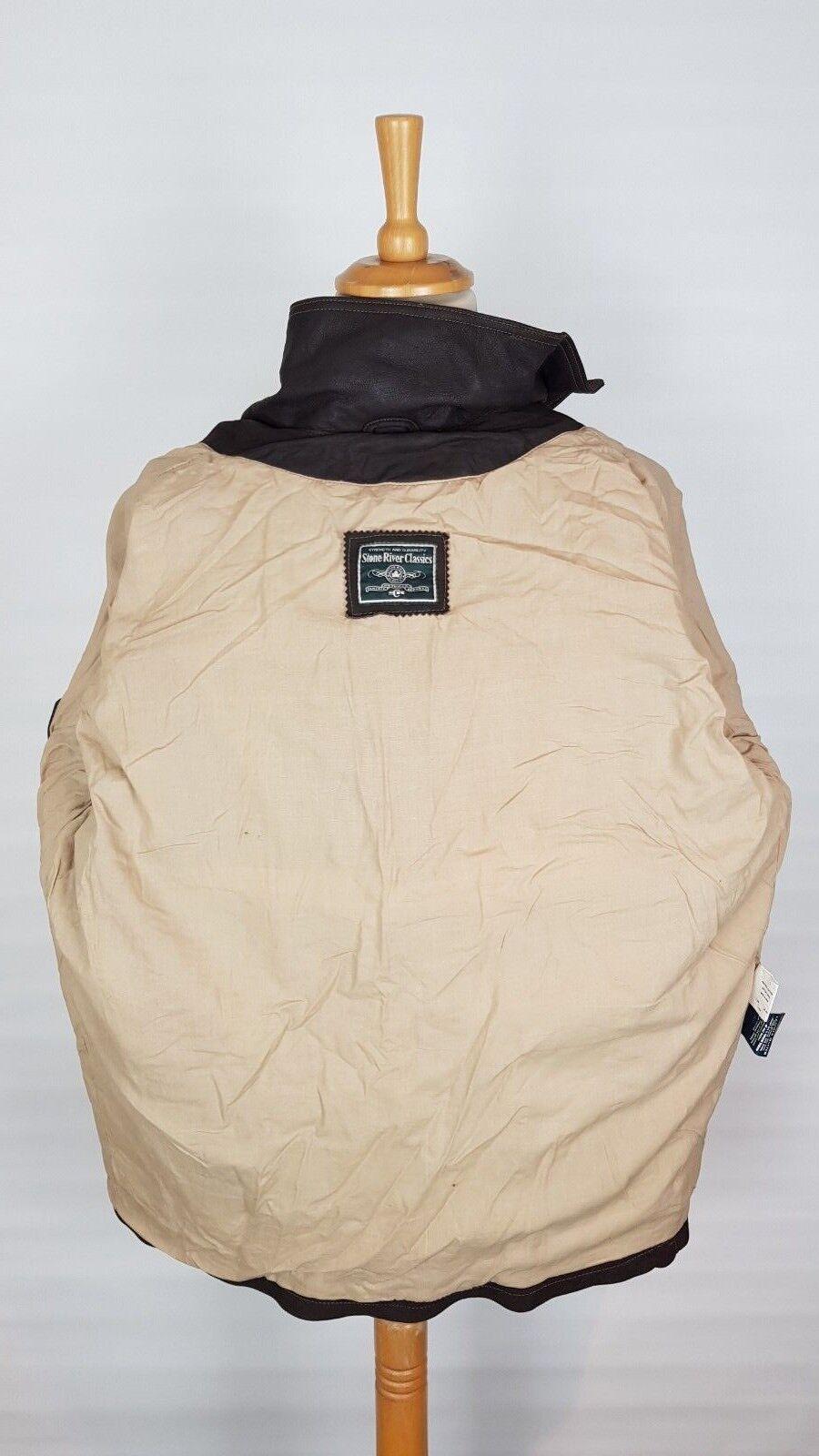 Q345 Uomo American STONE River Classics Spessa Marrone in Pelle American Uomo Style Giacca L/XL 57b36c