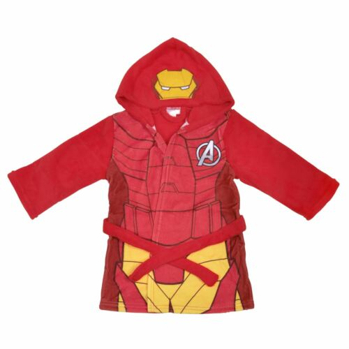 Marvel Superheroes Fleece Hooded Dressing Gown Capt America Spiderman Iron Man