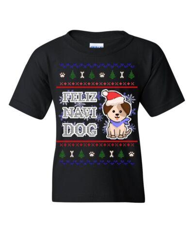 Feliz Navi Dog Ugly Sweater Youth T-Shirt Christmas Xmas Pet Paws Pup Kids Tee