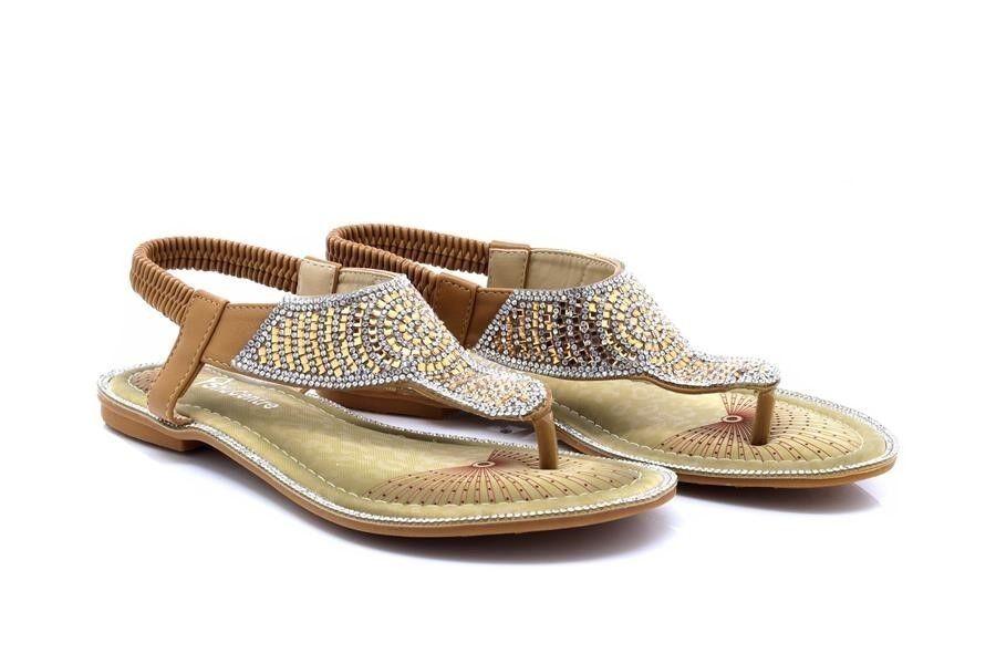 Womens Ladies Brown/Silver Flat Beaded Toe Post T-Bar Diamante Beaded Flat Slingback Elastic e489c7