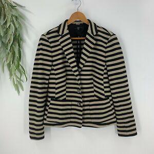 Hugo Boss Womens Suit Jacket Blazer Size 12 Cotton Blend Black Stripe Stretch
