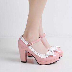 Vintage Ladies Mary Jane High Heel T-Strap Bowtie Oxford Block Heel Shoes Pumps
