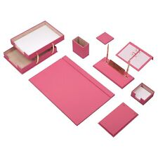 Leather Desk Set 10 Pieces With Double Document Tray Desk Organizer Pink