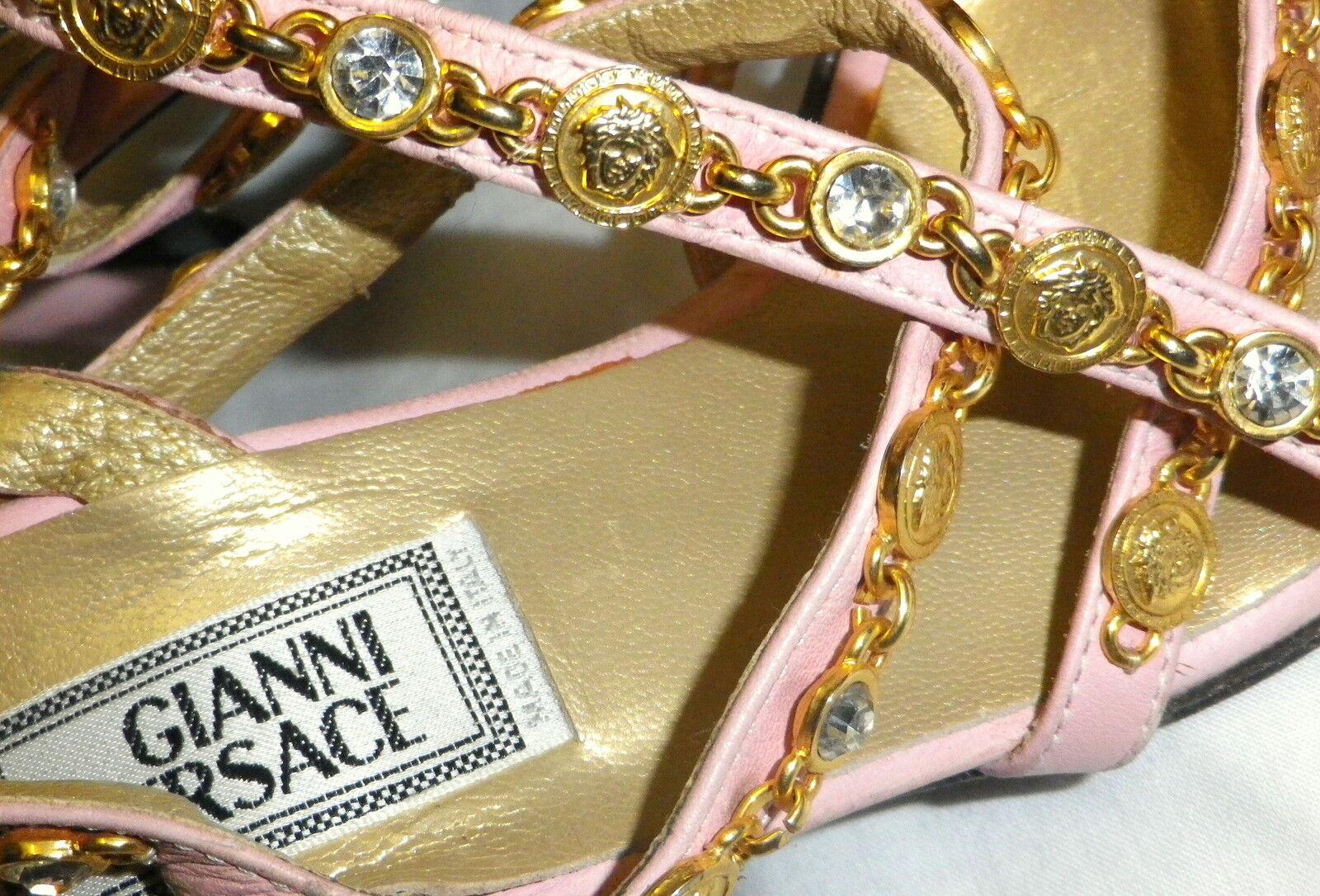 Gianni Versace en tono dorado Tiras Medusa Sandalias De Tiras dorado Tacones Zapatos Talla Uk 4 tamaño 37 9a7804